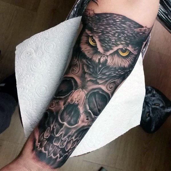 50 Owl Skull Tattoo Designs For Men Cool Ink Ideas Owl Skull Tattoos Tattoo Designs Men Mens Owl Tattoo
