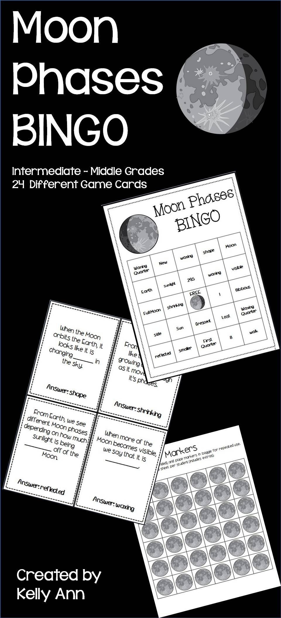 Moon Phases Bingo Review Homeschool Science Fourth Grade Science Elementary Science [ 2112 x 960 Pixel ]