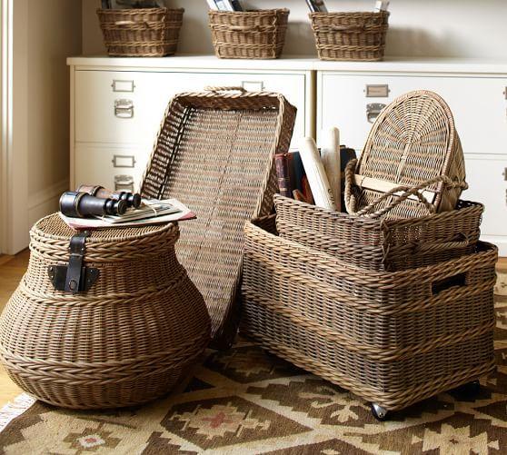 Jacquelyne Lidded Barrel Basket Storage Baskets Basket