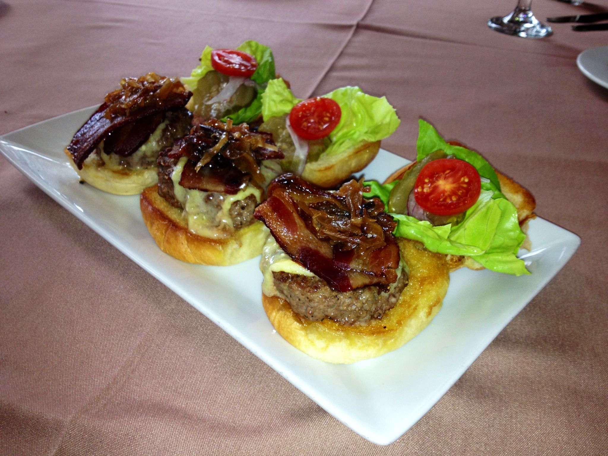 Beef Filet Sliders with Bacon, Cheese, Caramelized Shallots on Brioche Bun