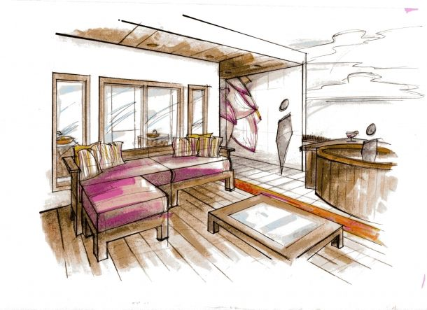 Hand Rendering Hotel Aire Penthouse Interior Design Process Interior Design Presentation Interior Architecture Design