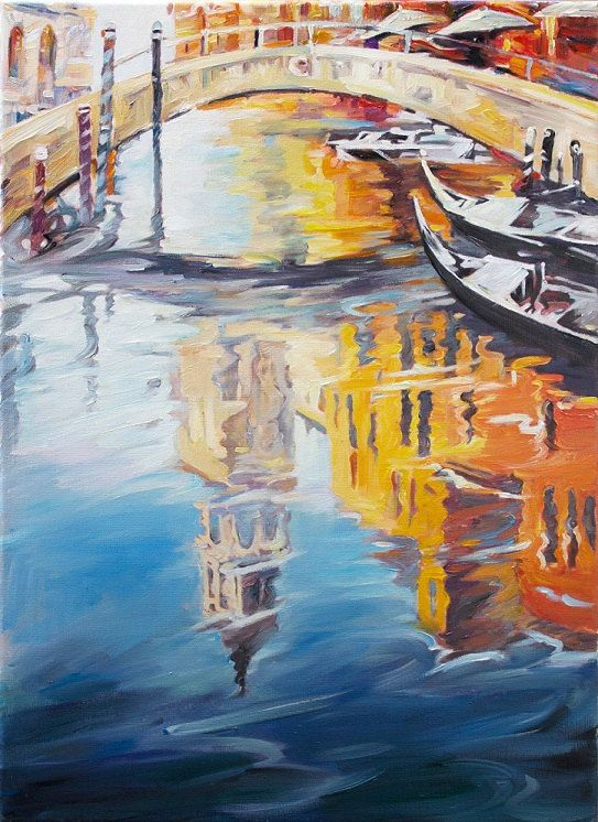Water Reflection Original Oil Painting Venetian by ...