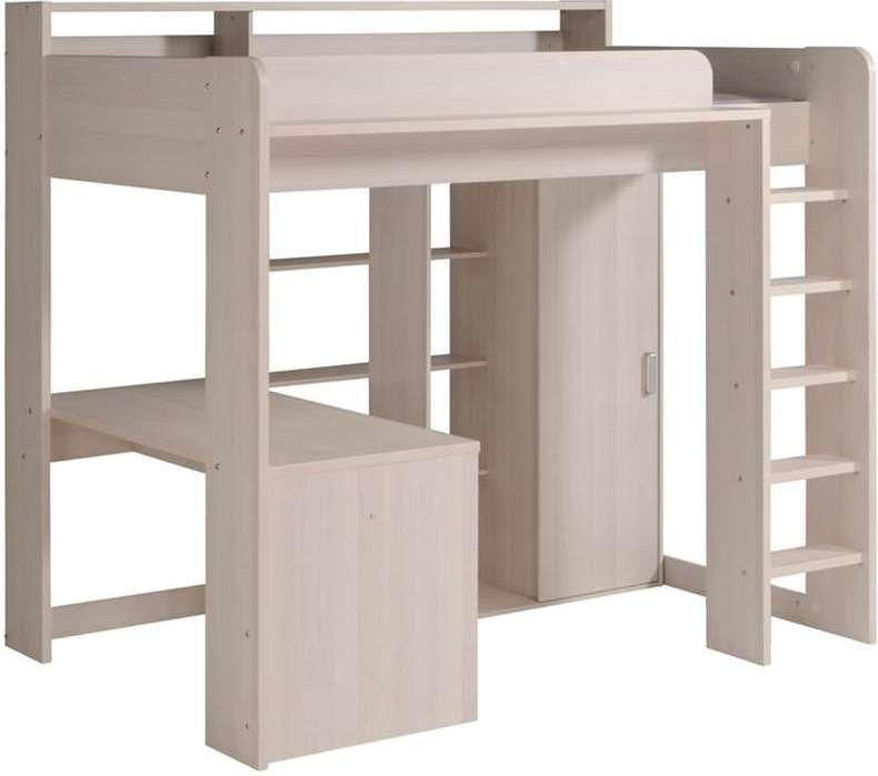 Lit Mezzanine Combi Combine Bureau Penderie Blanche Et Grise Lit Mezzanine Meuble Chambre Lit Mezzanine Enfant