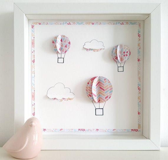Tableau Deco Chambre Enfant Les Montgolfieres Personnalisable