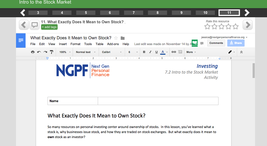 What Exactly Does It Mean to Own Stock? Use this NGPF