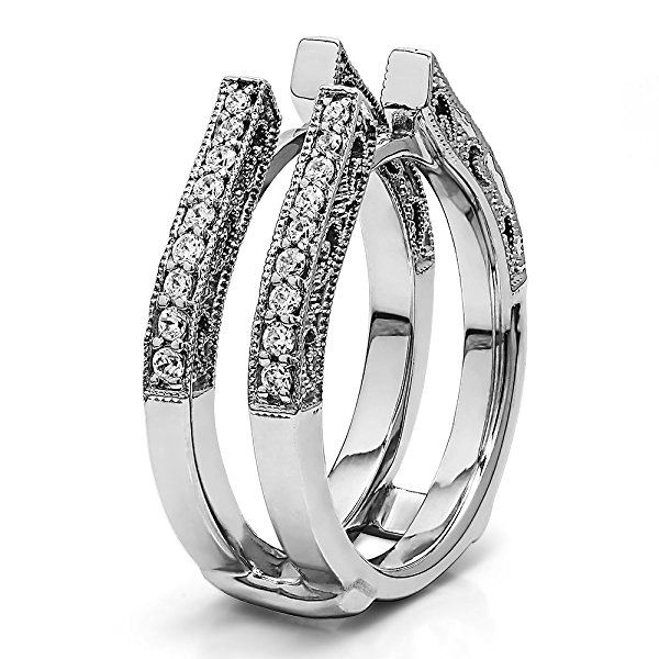 TwoBirch 0.29 Ct G, I2 Cathedral Ring Guard with Millgrained Edges and Filigree Design in Sterling Silver With Sapphire and Diamonds