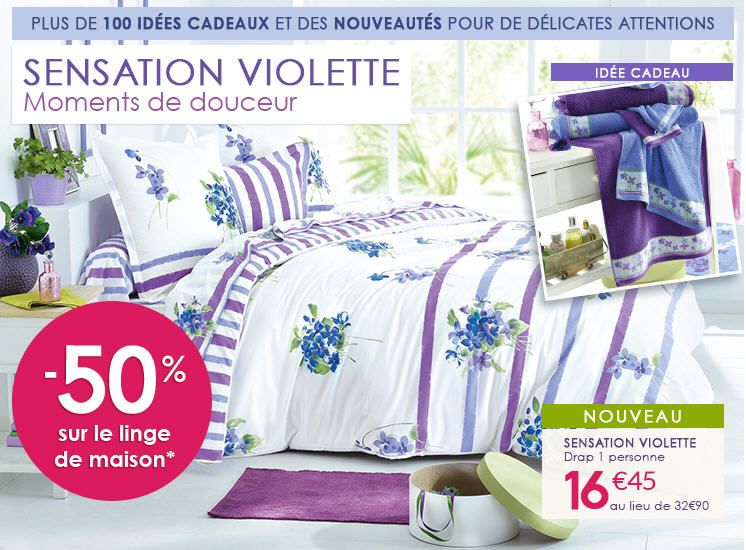 fran oise saget linge de lit sensation violette pas cher ventes pas bons plans pas. Black Bedroom Furniture Sets. Home Design Ideas