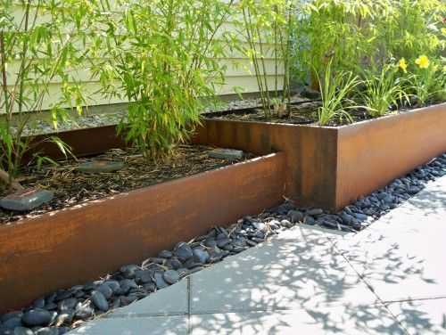 Rusted Steel Planters And Bamboo Contemporary Landscape Landscape Edging Metal Landscape Edging Landscape Design