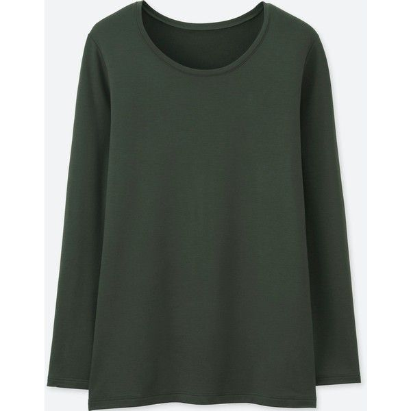aef9154eadb8 UNIQLO Women's Heattech Extra Warm Crew Neck T-Shirt ($20) ❤ liked on  Polyvore featuring tops, t-shirts, dark green, crewneck t shirt, crew top, crew  neck ...