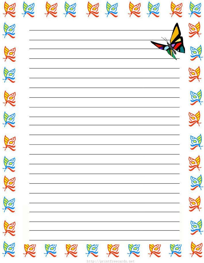 Girl Butterflies Free Printable Kids Stationery, Free Printable Writing  Paper For Kids, Regular Lined  Free Printable Lined Writing Paper