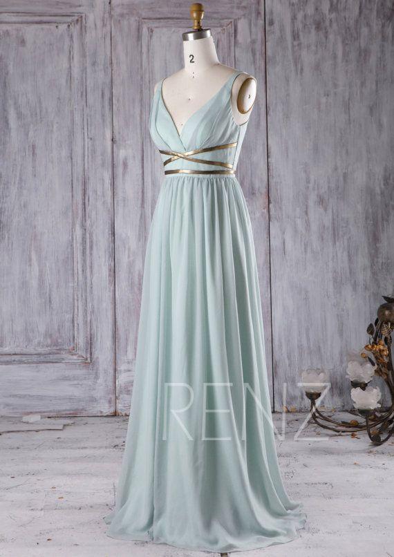 Prom Dress Dusty Shale Long Bridesmaid Dress Chiffon V Neck Rustic Bridesmaid Dress with Gold Belt A-Line Evening Dress (T171) – Dress