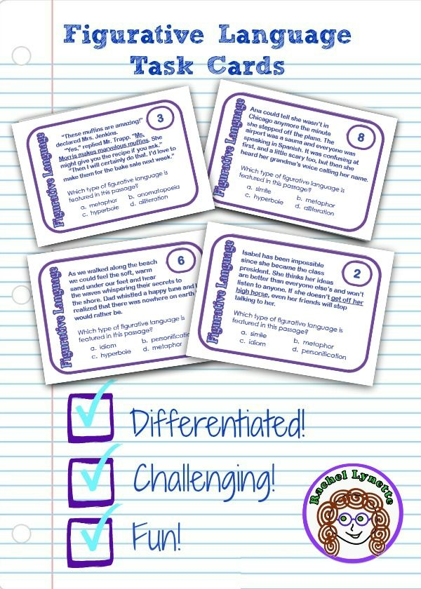 Printable Worksheets hyperbole and personification worksheets : Figurative language paragraph cards: Seven types of figurative ...