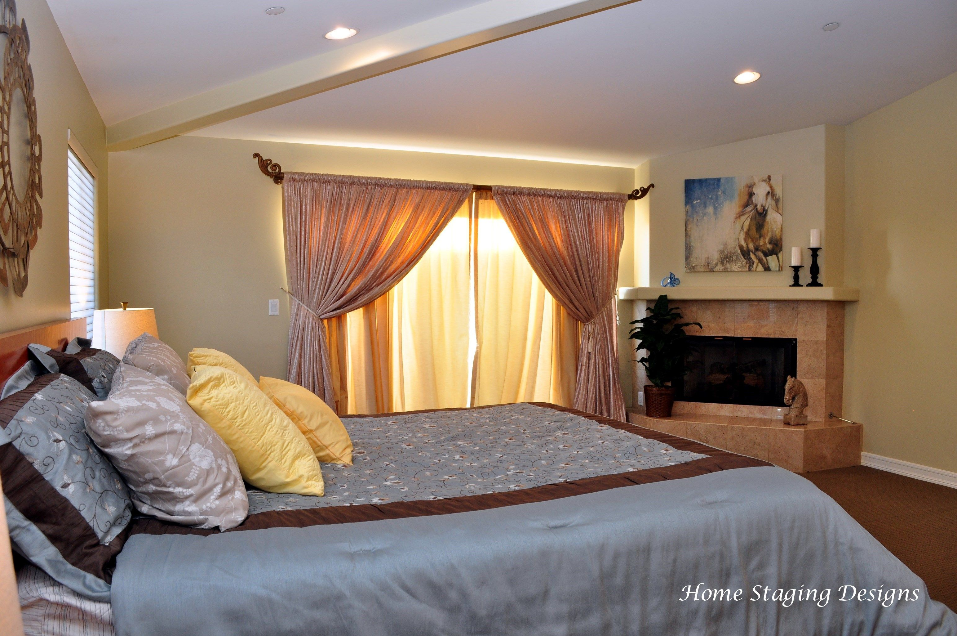 Master Bedroom Fireplace, blue bedroom