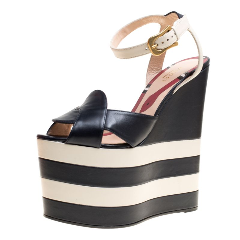 ce1a71d3bdab Gucci Navy Blue White Leather Sally Ankle Strap Platform Wedge Sandals Size  37.5
