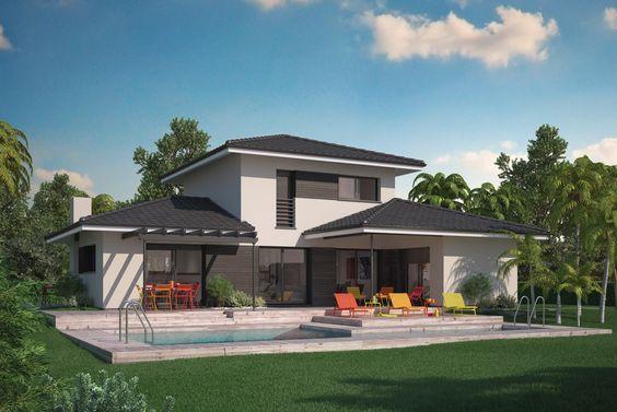 Extension déportée par rapport à la partie centrale de la maison - modele maison a construire