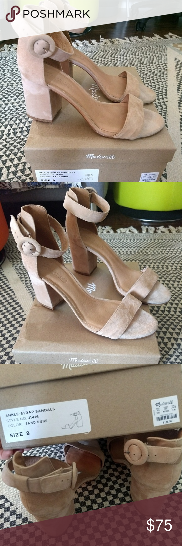 c9b821025ff Madewell the regina ankle-strap sandal sand dune Good condition PRODUCT  DETAILS Timeless suede sandals with a sleek covered buckle and a truly  danceable ...