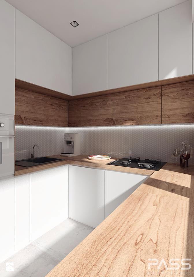 white / wood modern kitchen interior design kitchen Pinterest - rückwand für küche