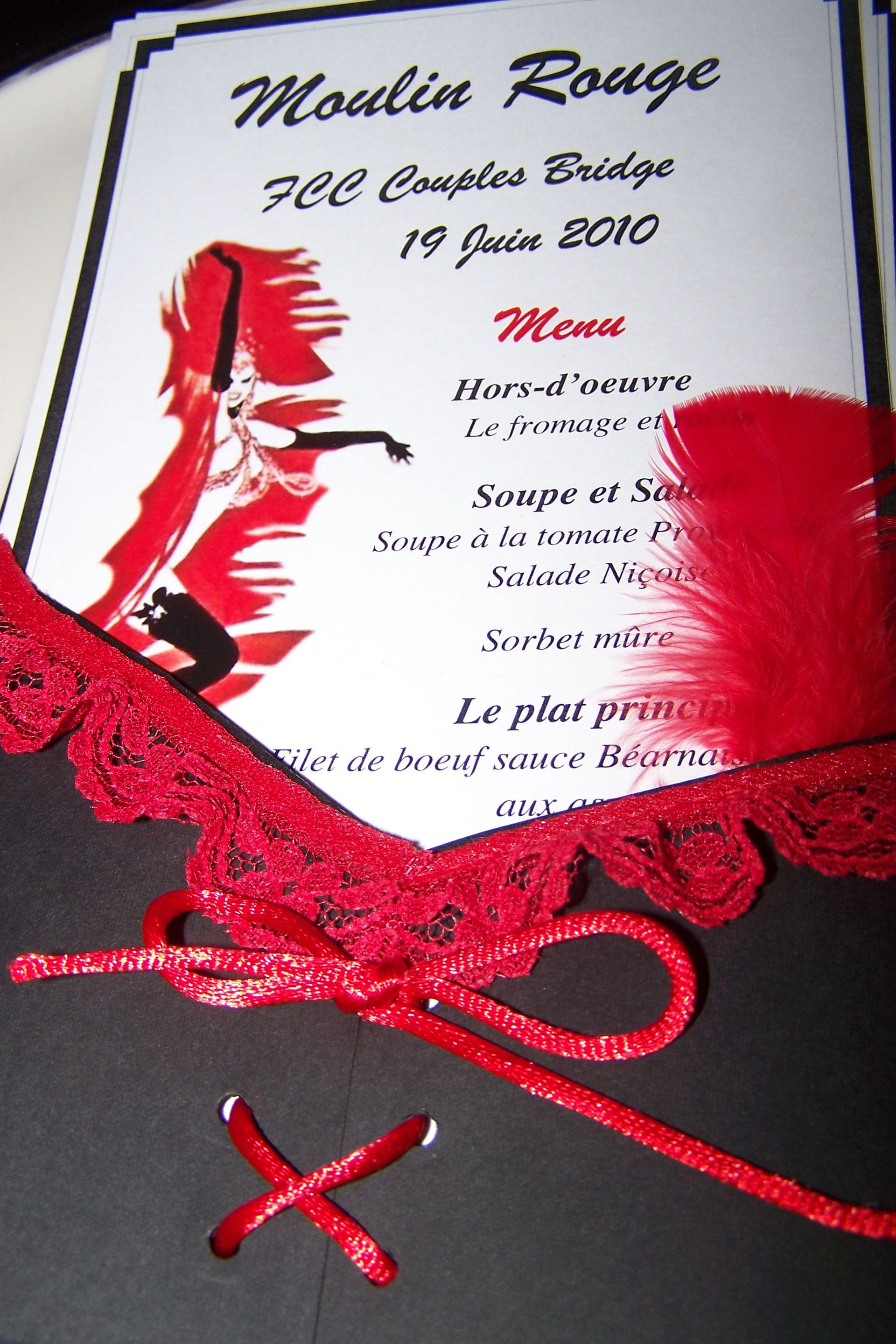 Moulin Rouge Can-Can Parisian or French menu or invite - 1/2 black ...