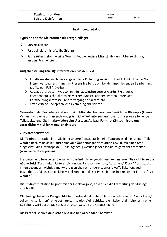 Textinterpretation Kurzprosa Unterrichtsmaterial Im Fach Deutsch In 2020 Kurzgeschichte Interpretation W Fragen Kurzgeschichten