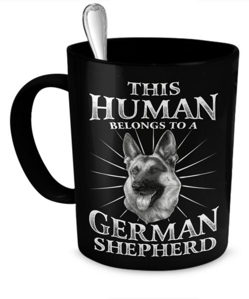 This Human Belongs To A German Shepherd Mug Mugs