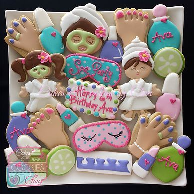Spa Party Cookies  Pinteres - Spa birthday party cake
