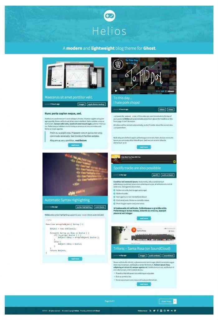 Helios Modern Responsive Theme for Ghost > best premium blogger ...
