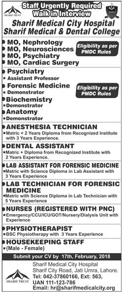 Sharif Medical City Hospital Jobs  In Lahore For Assistants