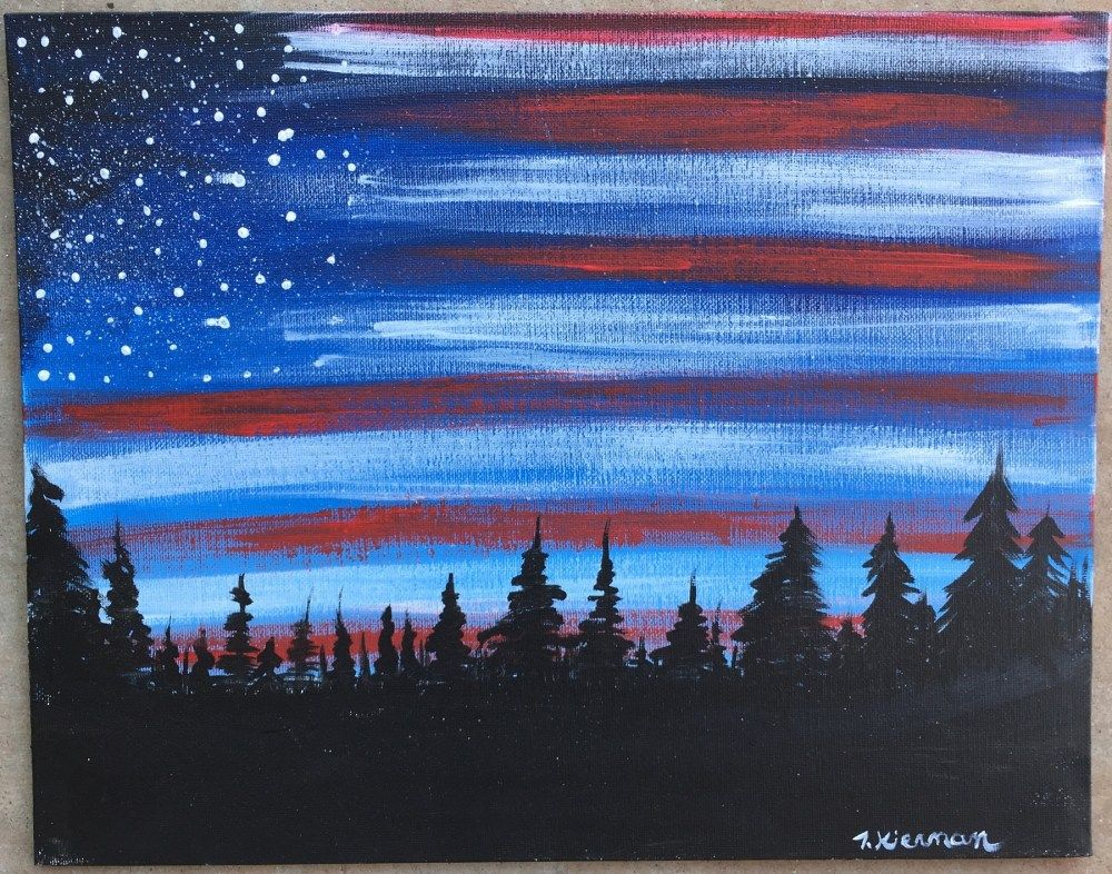 How To Paint American Flag Sky is part of Acrylic painting canvas, American flag painting, Sky painting, Canvas painting tutorials, Easy canvas painting, Canvas painting diy - How To Paint American Flag Sky Learn how to do this very simple yet stunning American Flag Sky with acrylic paint on canvas  You'll learn how to do a forest skyline silhouette backed by a twilight or dawn sky and a dry brushed US flag illusion! This painting tutorial is     Read moreHow To Paint American Flag Sky