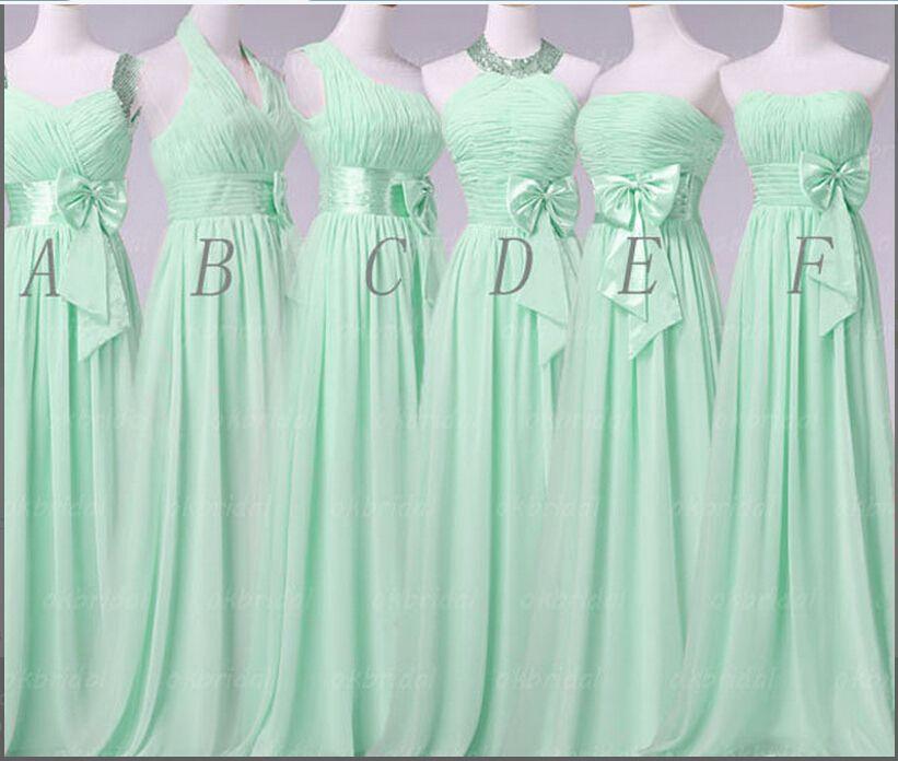 2015 Hot Summer Mint Green Long Bow Bridesmaid Dresses Satin Sasheds ...