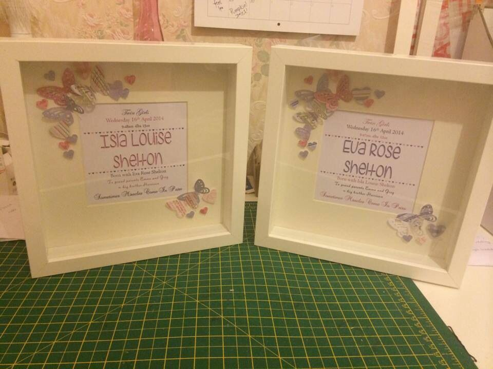Twins, baby girls, box frames, personalised print, date, weight ...
