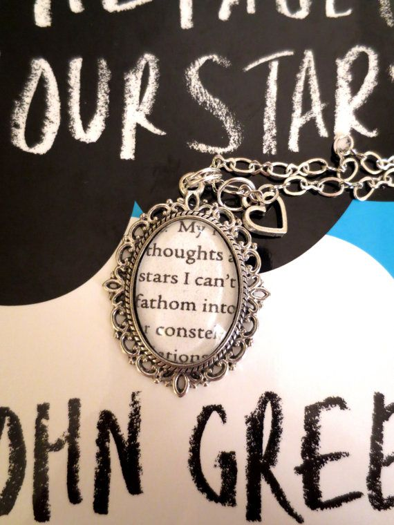 The Fault in Our Stars by John Green Antiqued Silver Book Page Necklace. $17.00, via Etsy.