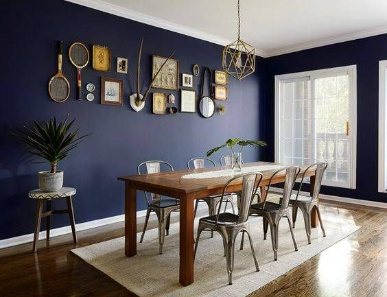 Navy Blue Dining Room Decor Ideas With Images Blue Dining Room