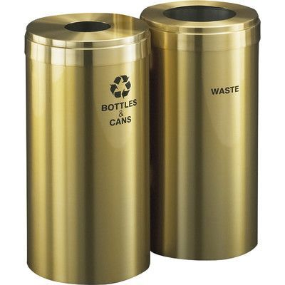 Glaro, Inc. RecyclePro Value Series 30 Gallon Dual Unit Multi Compartment Recycling Bin Color: Satin Brass