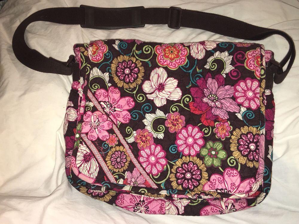 Vera Bradley Extra Large Messenger Book Laptop Diaper Bag Mod Floral Brown  Pink  VeraBradley  MessengerCrossBodyCrossbody 6057e3df8afa5