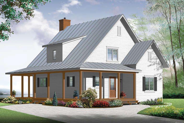 House Plan 034 00784 Narrow Lot Plan 1 370 Square Feet 3 Bedrooms 2 Bathrooms In 2020 Modern Farmhouse Plans Small Farmhouse Plans Homestead House