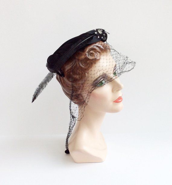 497fc3919f8 50s Black Pill Box Hat   1950s Vintage Feather Netted Hat in 2018 ...
