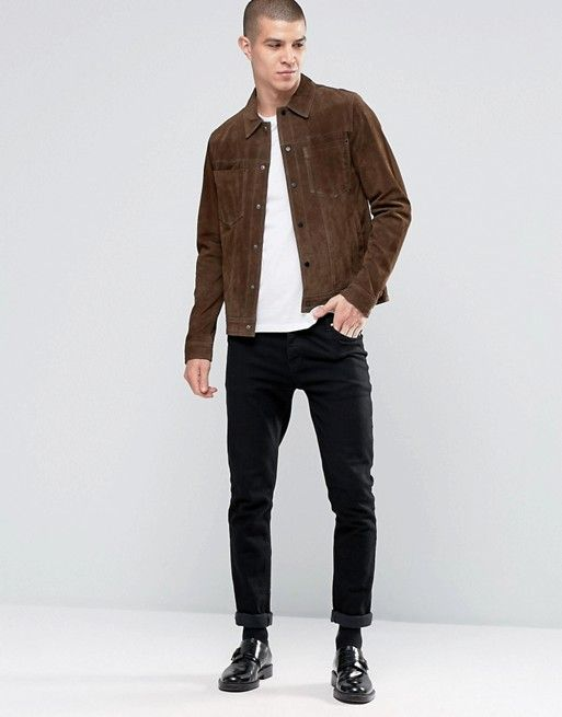 Shoptagr New Look Suede Western Jacket With Collar In Brown By New Look Western Jacket Mens Outfits Mens Jackets