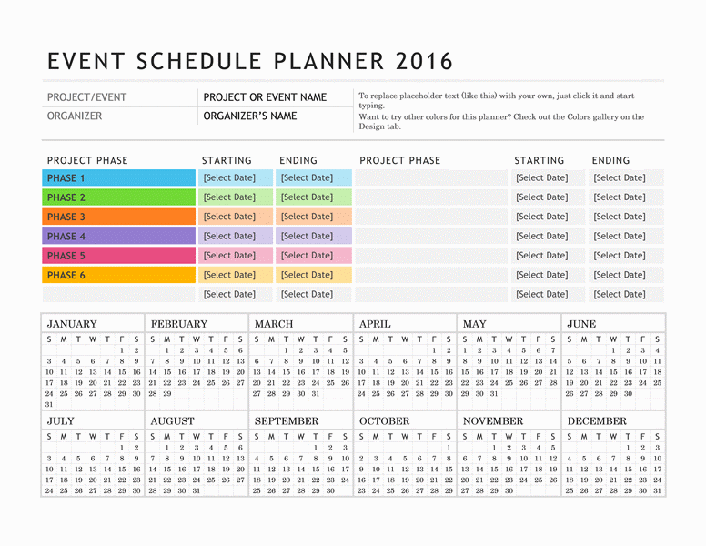 Event Planning Calendar Template Passionativeco - Event planning timeline template