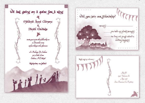 Lord Of The Rings Wedding Invitations Nerdy Geeky Middle Earth Invitation Set Awkward Affections Geeky Wedding Earth Invitations Wedding Invitation Sets