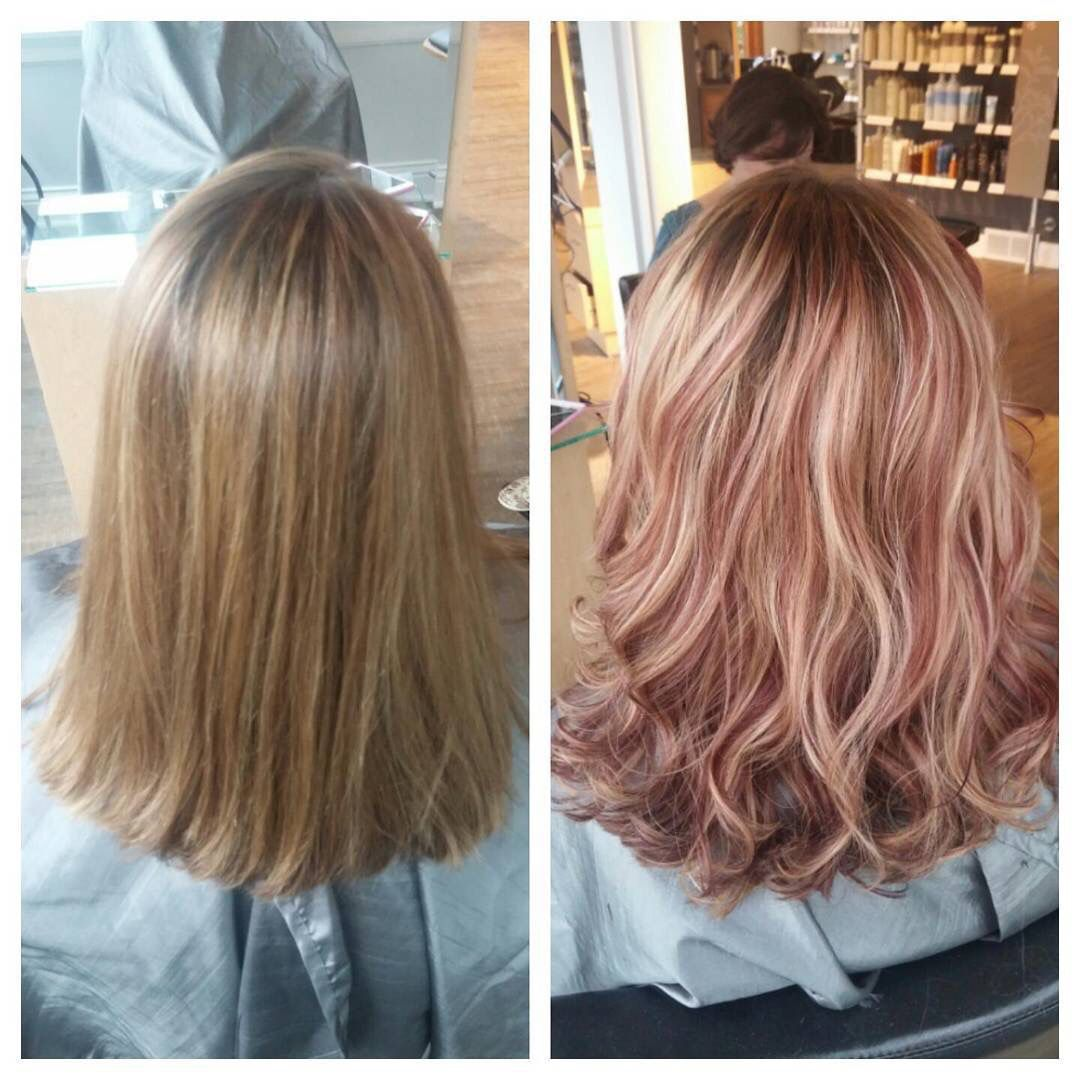Rose Gold Highlights Ombre Blonde Hair With Highlights Hair Highlights Hair Styles
