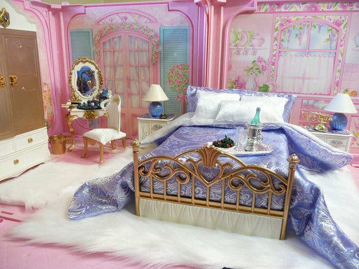 Pin by Lori Cross on Doll furniture Barbie bedroom, Bed