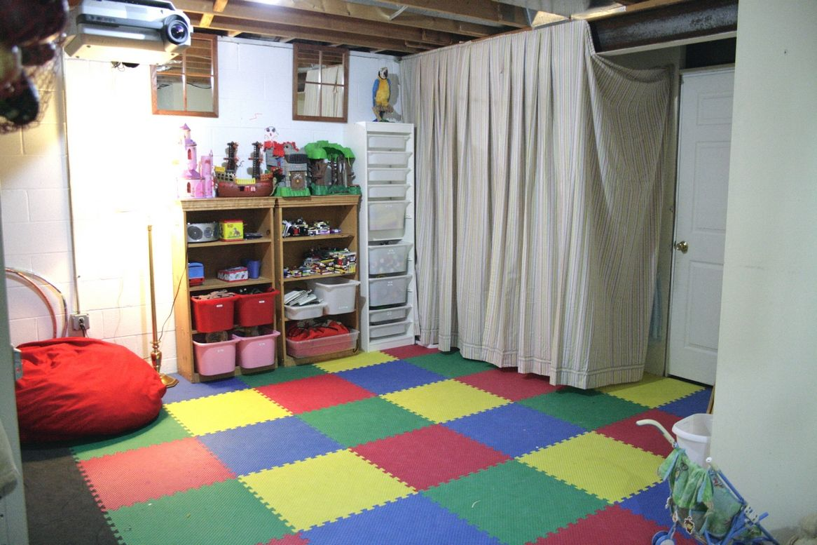 Unfinished basement storage ideas - Unfinished Basement Playroom Ideas I Am Using Several Of These Ideas Like The Curtain And