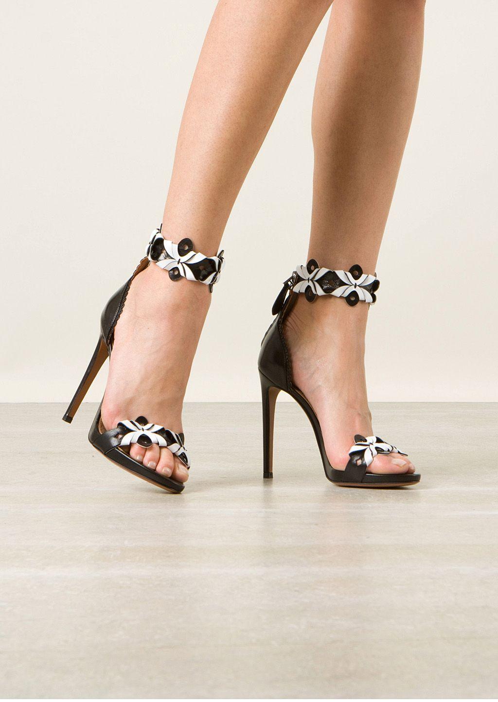 Azzedine Alaïa Sandals :: Azzedine Alaïa black and white leather cutout sandals | Montaigne Market