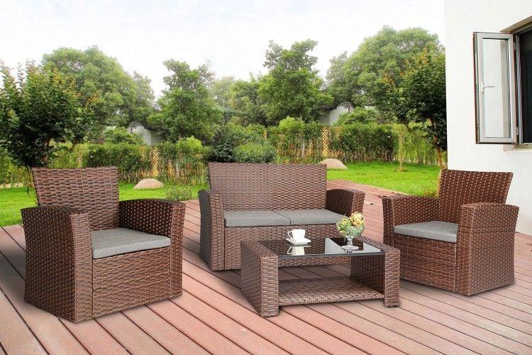 Conversational Outdoor Furniture Wicker Rattan Garden Patio Set Brown Pieces 4