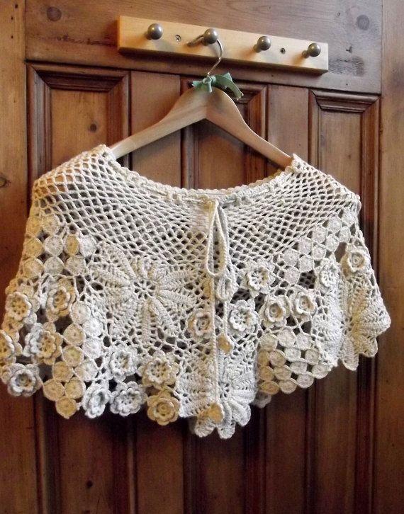 vintage clothing boho caplet  womens scarf  cape shawl winter crochet clothes Bohemia floral