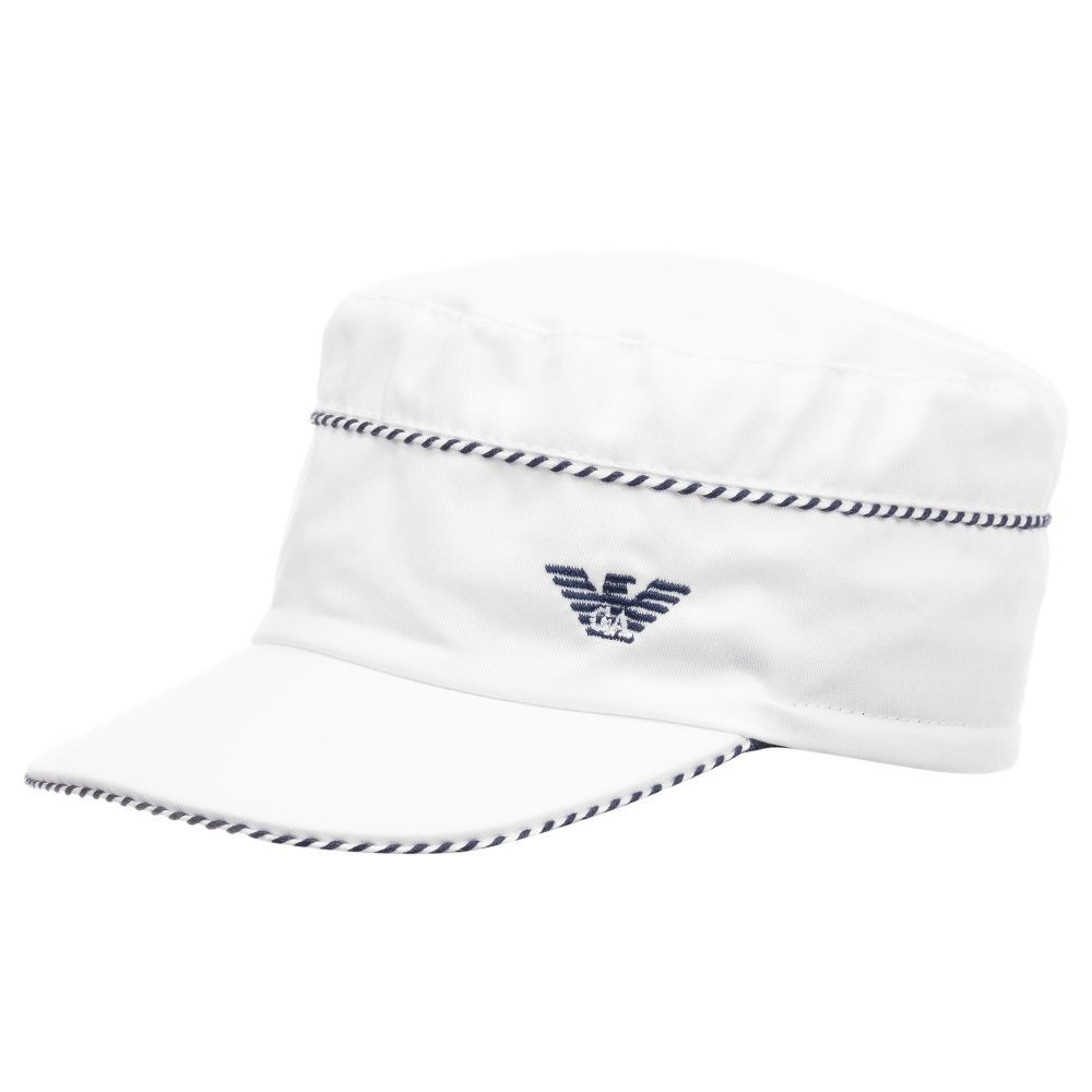 21ca5f02 Cute white cotton cap for little boys by Emporio Armani, with a navy blue  logo and trim.