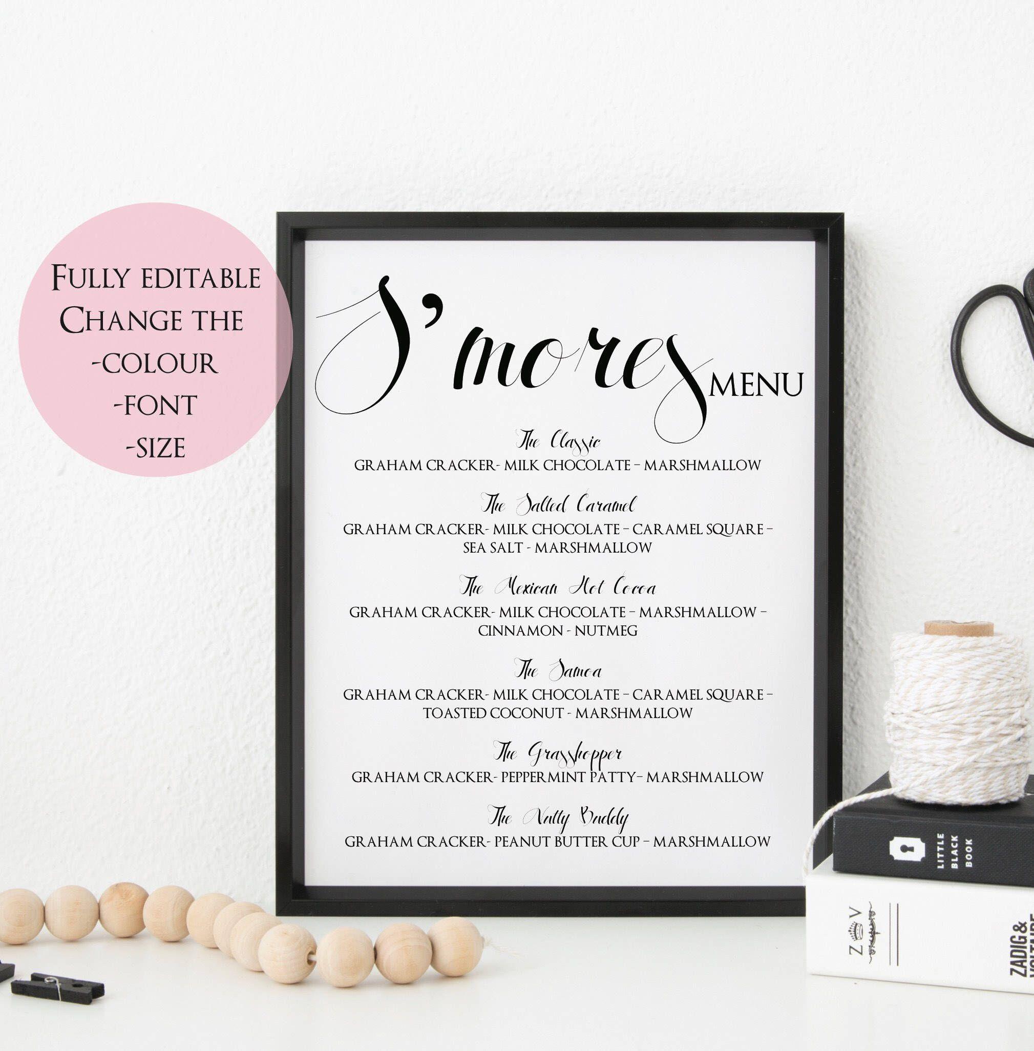 S\'mores Sign Editable - S\'mores Menu Sign Template - Smores Wedding ...
