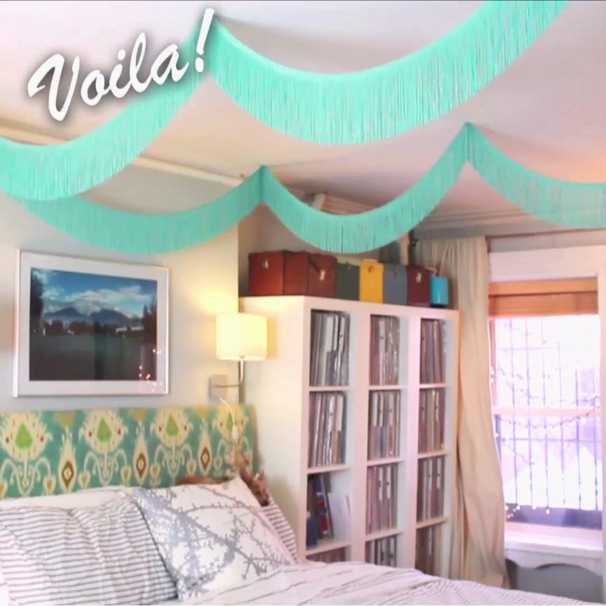 DIY Fringe Bed Canopy
