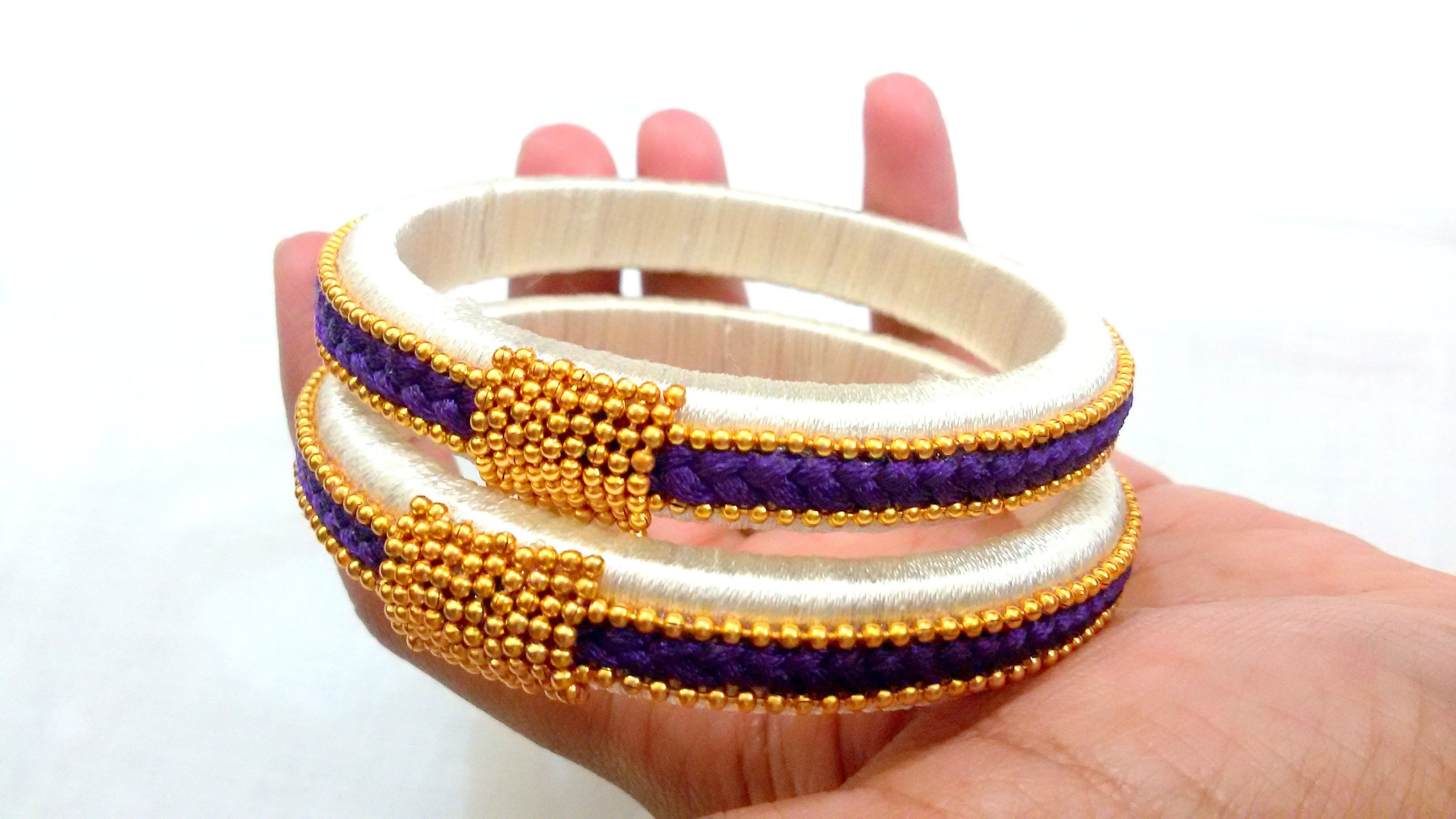 How To Make Silk Thread Bangles ! Design 2 Silk Thread Jewelry