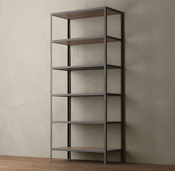 Vintage industrial bookcase restoration hardware modern for Modern minimalist bookcase